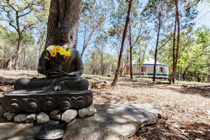 Buddha blessing the yurt