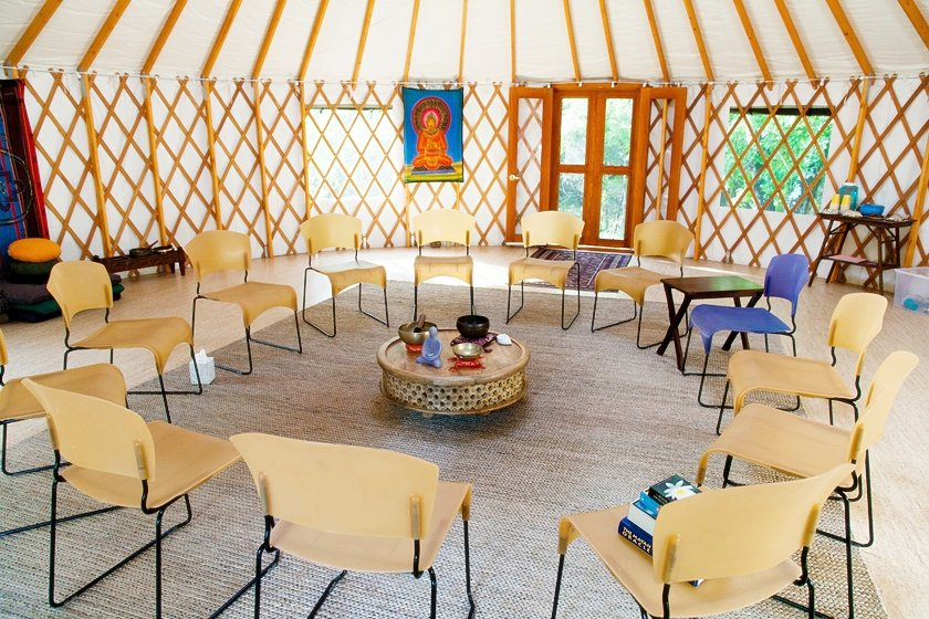 yurts are great for classes, workshops and trainings