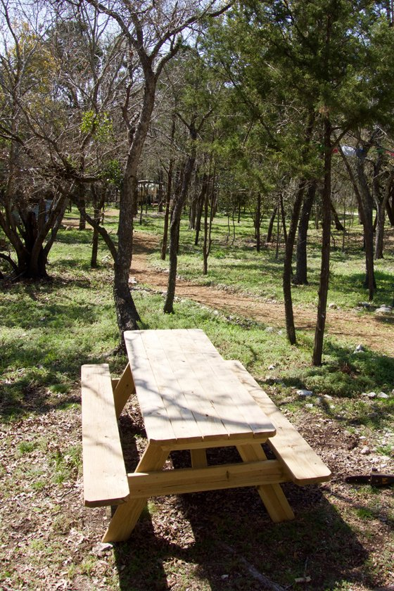 Picnic tables for outdoor meals.