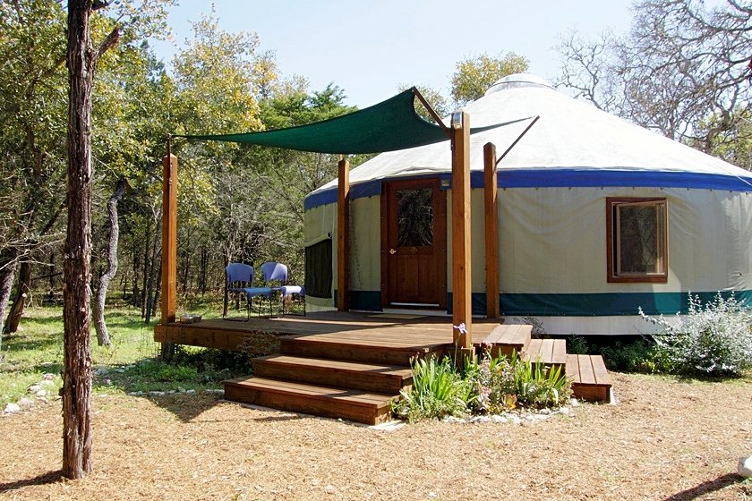 Front of yurt